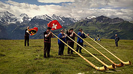 Four alphorn players on a grassland, with Swiss flags waving behind them and high mountains in the background
