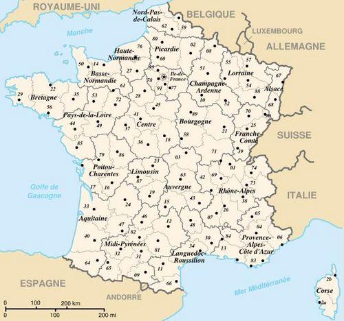 Carte des d partements et r gions de la france m tropolitaine for Piscine ile napoleon