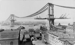 Le pont de Manhattan (New York) en construction — photo du 23 mars 1909