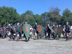 Charge de guerriers vikings.