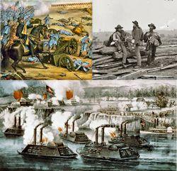 En haut à gauche: Armée nordiste à Stones River, Tennessee; en haut à droite: des prisonniers confédérés à Gettysburg; en bas: la bataille de Fort Hindman, Arkansas.