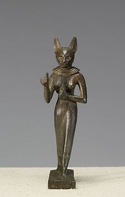 Egyptian - Statuette of a Standing Bastet - Walters 54408 (2).jpg