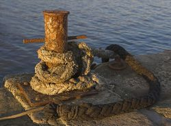 Mooring bollard at sunset, Lyme Regis.jpg