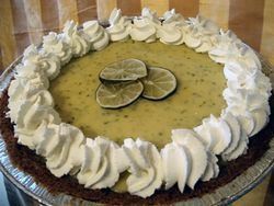 Key lime pie with whipped cream and lime decoration, March 2009.jpg